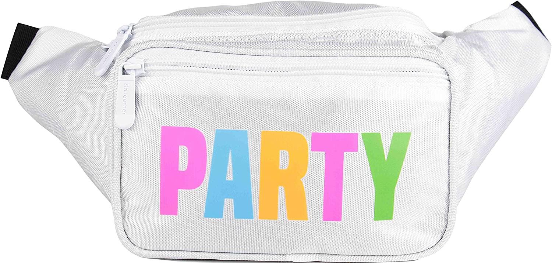 SoJourner White Party Fanny Pack - Neon Packs for men, women | Cute Waist Bag Fashion Belt Bags rave festival