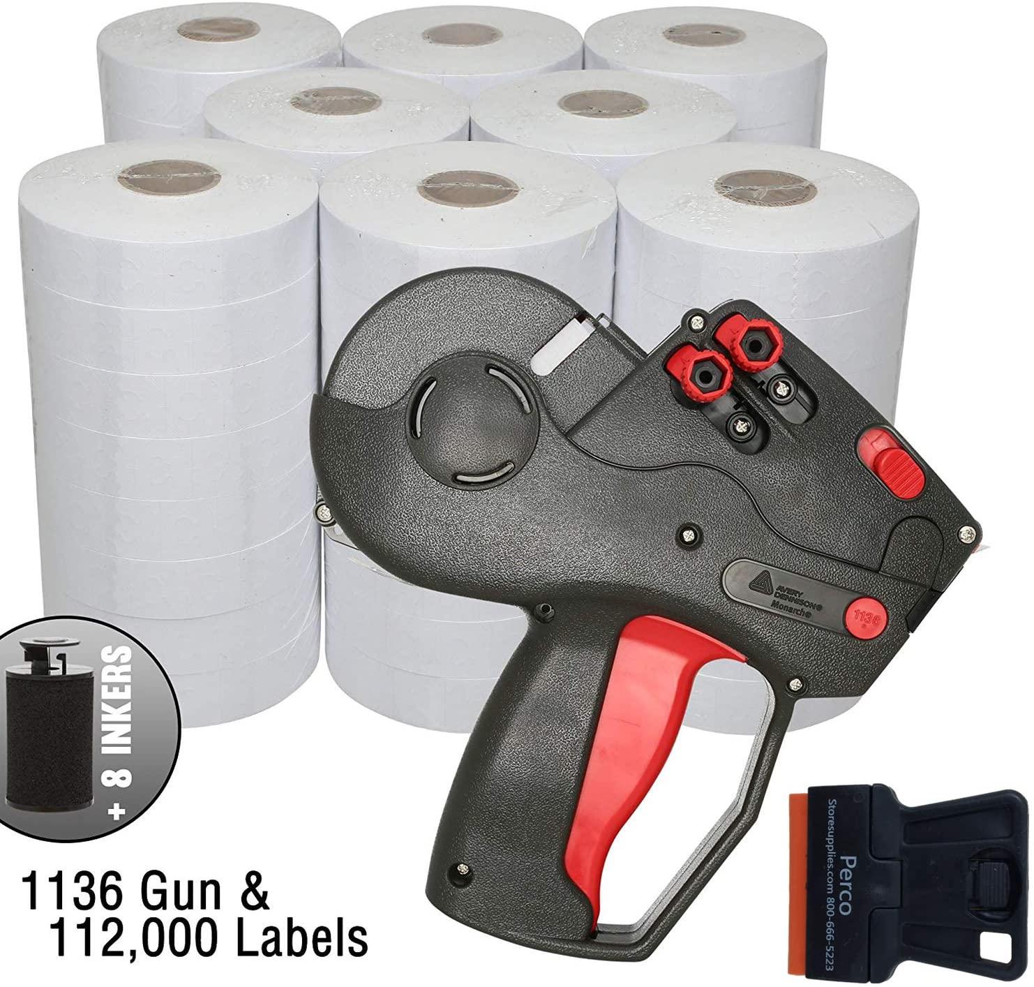 Monarch 1136 Price Gun with Labels Value Pack: Includes Monarch 1136 Pricing Gun, 112,000 White Pricemarking Labels, Bonus Inkers