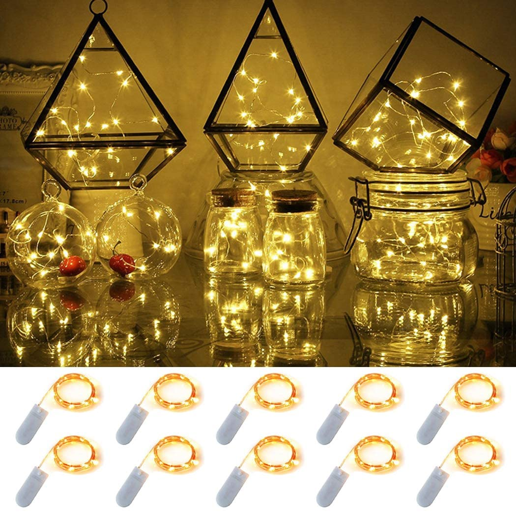 10 Pack Fairy Light, 6.6 ft 20 LED Battery Operated Fairy String Lights Waterproof Copper Wire Starry Lights Mason Jar Lights Firefly Lights for DIY Wedding Party Christmas Decor (Warm White)