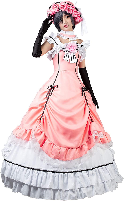 Cosfun Black Butler Ciel Phantomhive Pink Lolita Cosplay Dress Costume mp004139