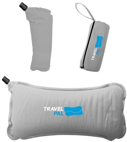 Travel Pal Therapeutic Self Inflating Lumbar Support Pillow Grey Comfortable Orthopedic Portable Inflatable Tailbone Spine Coccyx and Sciatica Pain Relief for Work Driving, Uber, Camping, Flights