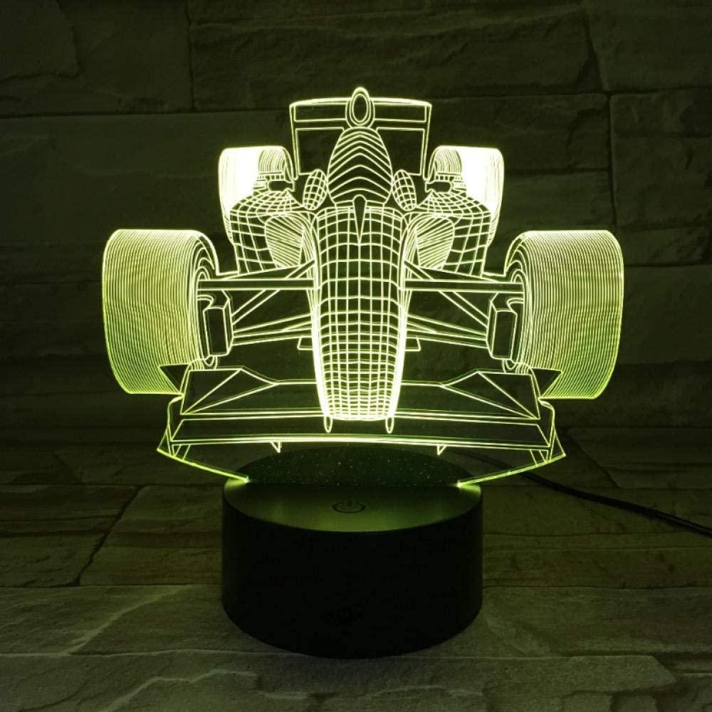 Racing Car 3D Decor LED Night Light 7 Color Change Bedside Nightlight Indoor Decoration Lighting Best Gift for Children's Day