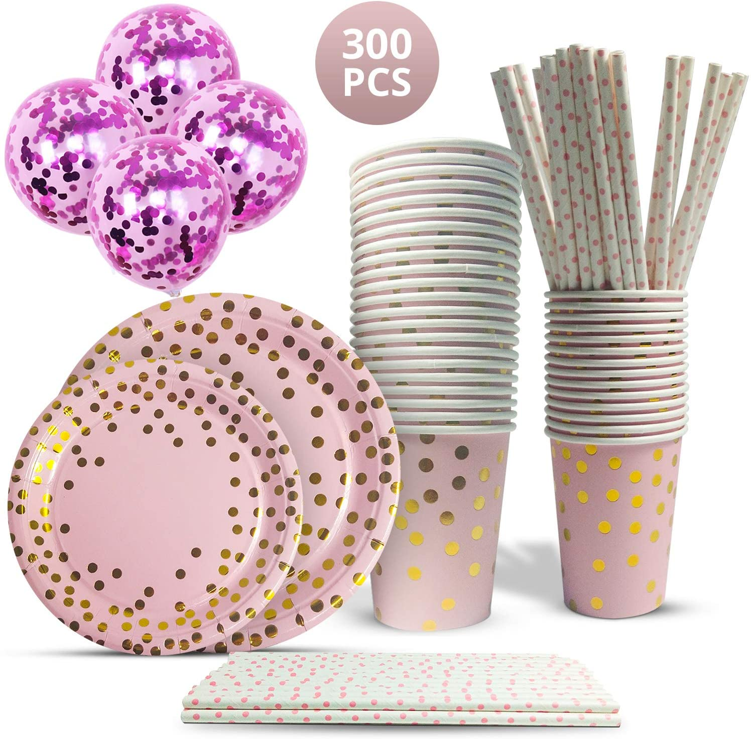 Mobius01 300 Pieces   Pink Polka Dots   Disposable Paper Tableware Set for Parties w/50 Dinner Plates, 50 Dessert Plates, 50 Cups, 50 Napkins, 50 Straws, 50 Balloons