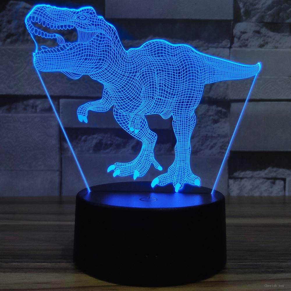 Cherish tea Dinosaur 3D Night Light T-Rex 3D Illusion 7 Colors Changing Lamps with Smart Touch & USB Cable for Home Decorations Lights Kids Boys Dino Gifts Toys Age 1 2 3 4 5 6 7 8 Year Old
