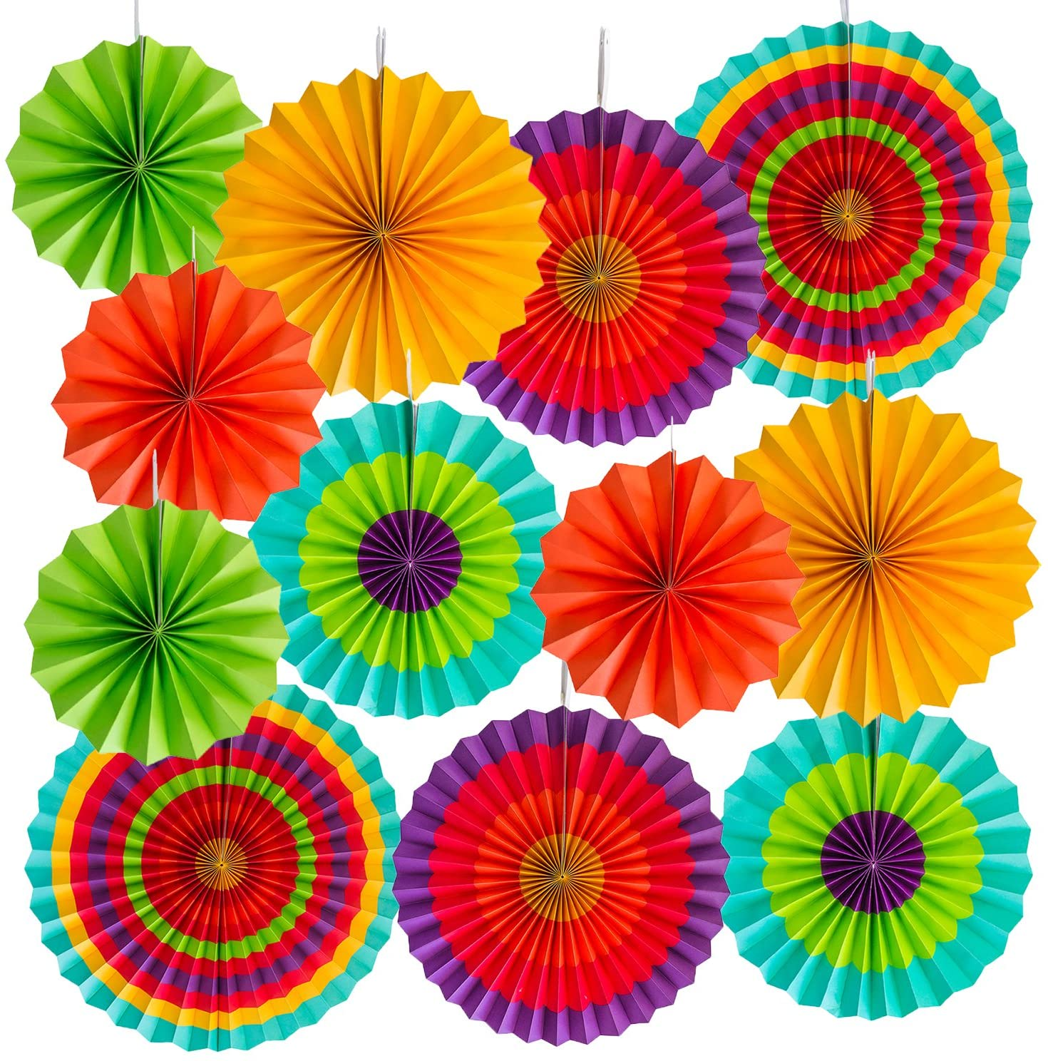 Super Z Outlet 12 Paper Fan Mexican Fiesta/Cinco De Mayo /Carnival/ Taco Tuesday Kids Party Hanging Decoration Supplies