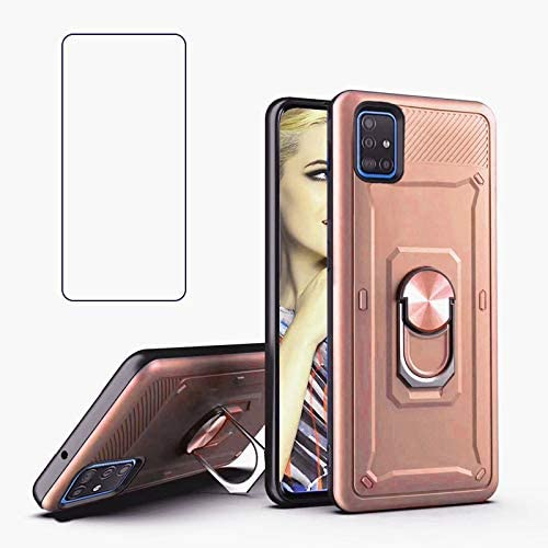 REAMOUNT for Samsung Galaxy A71 5G Case with Tempered Glass Screen Protector, Rugged Hybrid Armor Anti-Scratch Shockproof Kickstand Cover Compatible Magnetic Car Mount Ring Grip (Rose Gold)