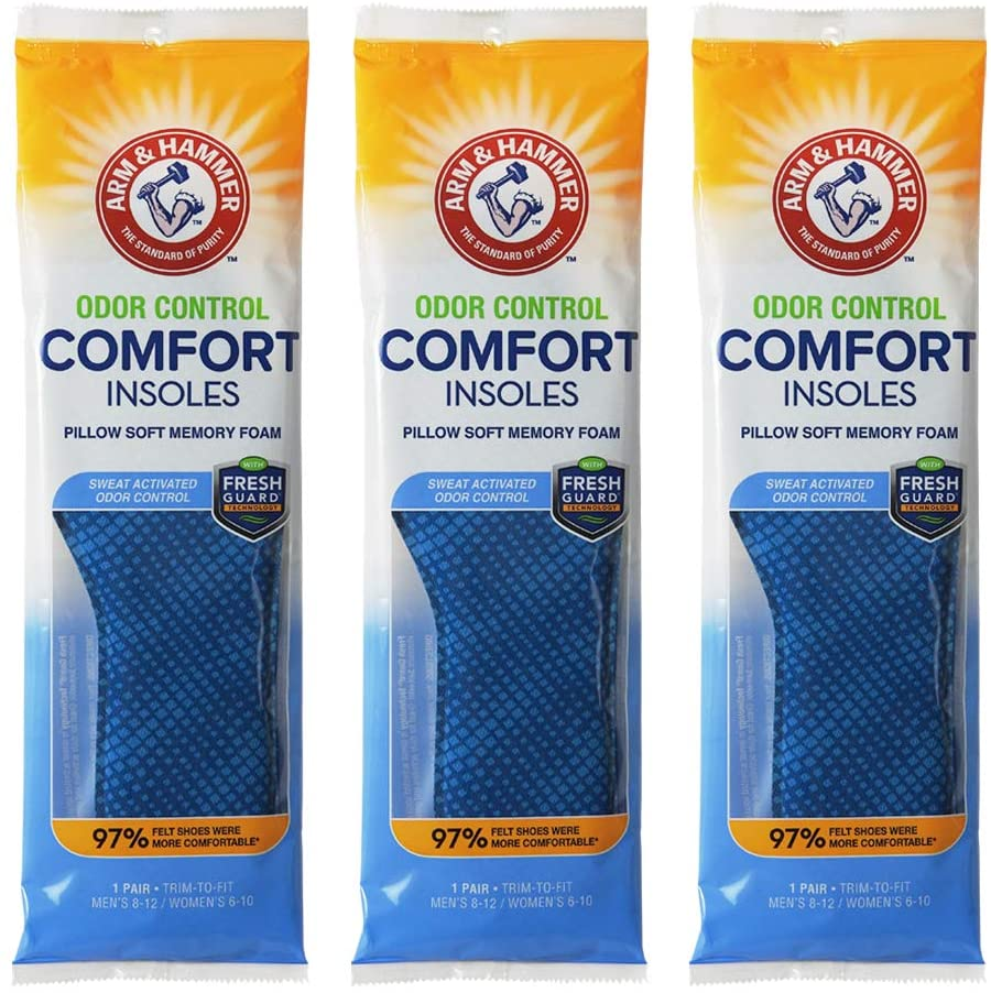 Arm & Hammer Odor Control Comfort Insoles with Pillow Soft Memory Foam - 3 Pack