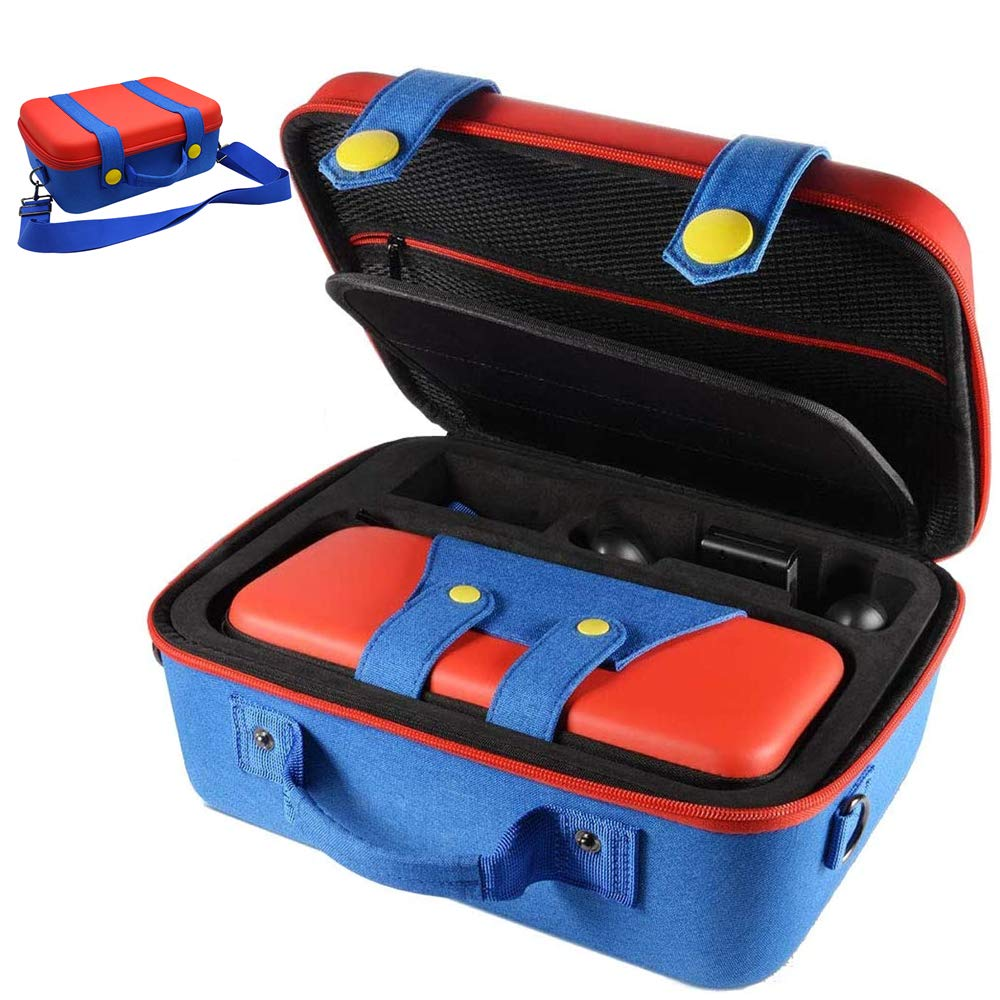 Nintendo Switch System Carrying Hard Cases Suit-Overall Protection Deluxe Travel Storage Case for Switch Console Controller Joy-Con Accessories with Mario Pants Design