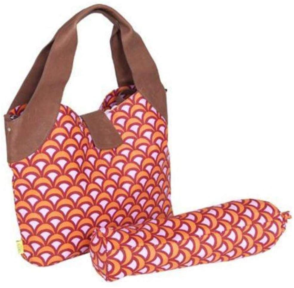 MI 1 Piece Tangerine Orange Large Floral Print Diaper Bag for Babies, Baby Nursery Tote Backpack Carrier Geometric Flowers Pattern Design Roomy Changing Pad Zippered Storage Shoulder Strap, Cotton