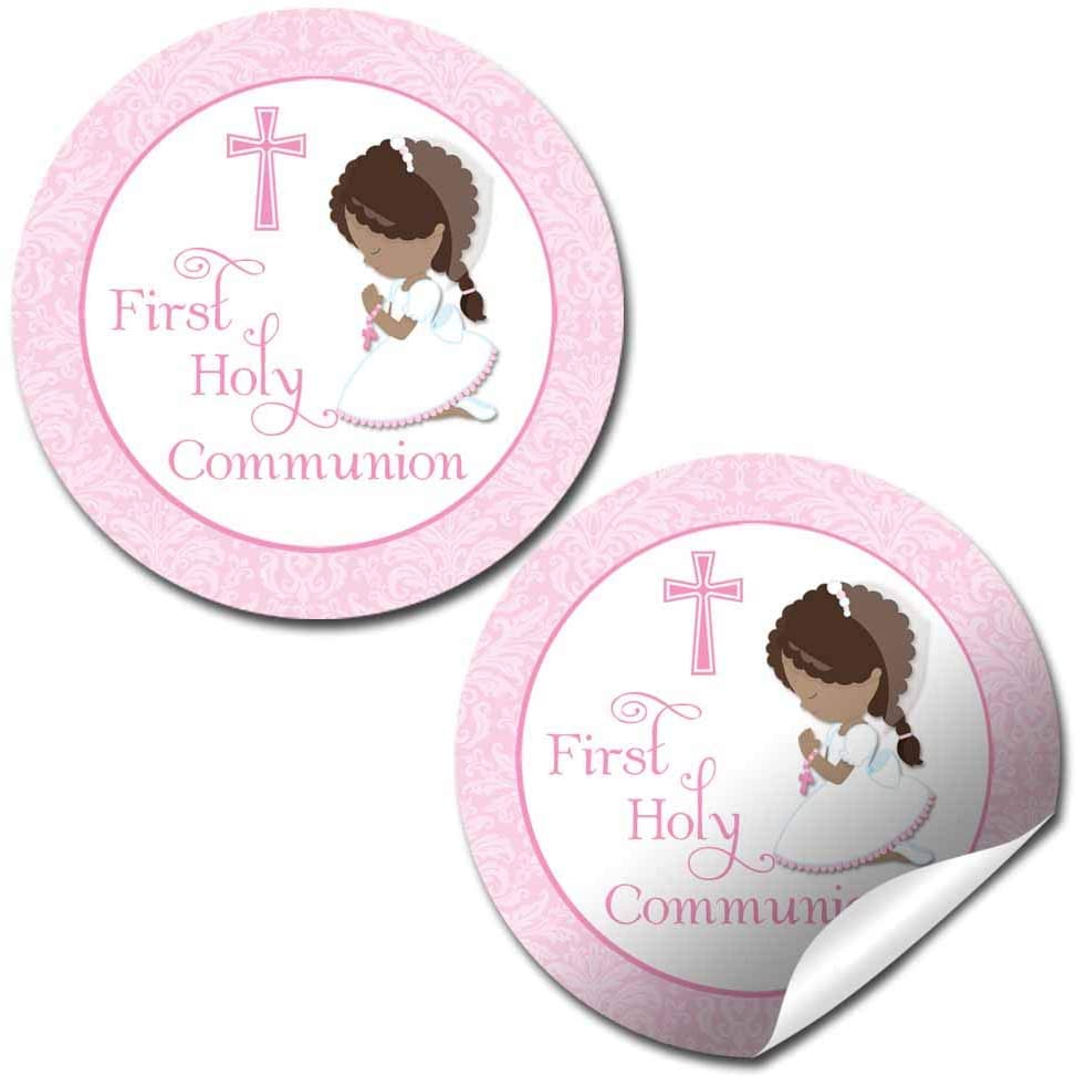 First Holy Communion Religious Thank You Sticker Labels for Girls (Darker Skin, Brown Hair), 40 2