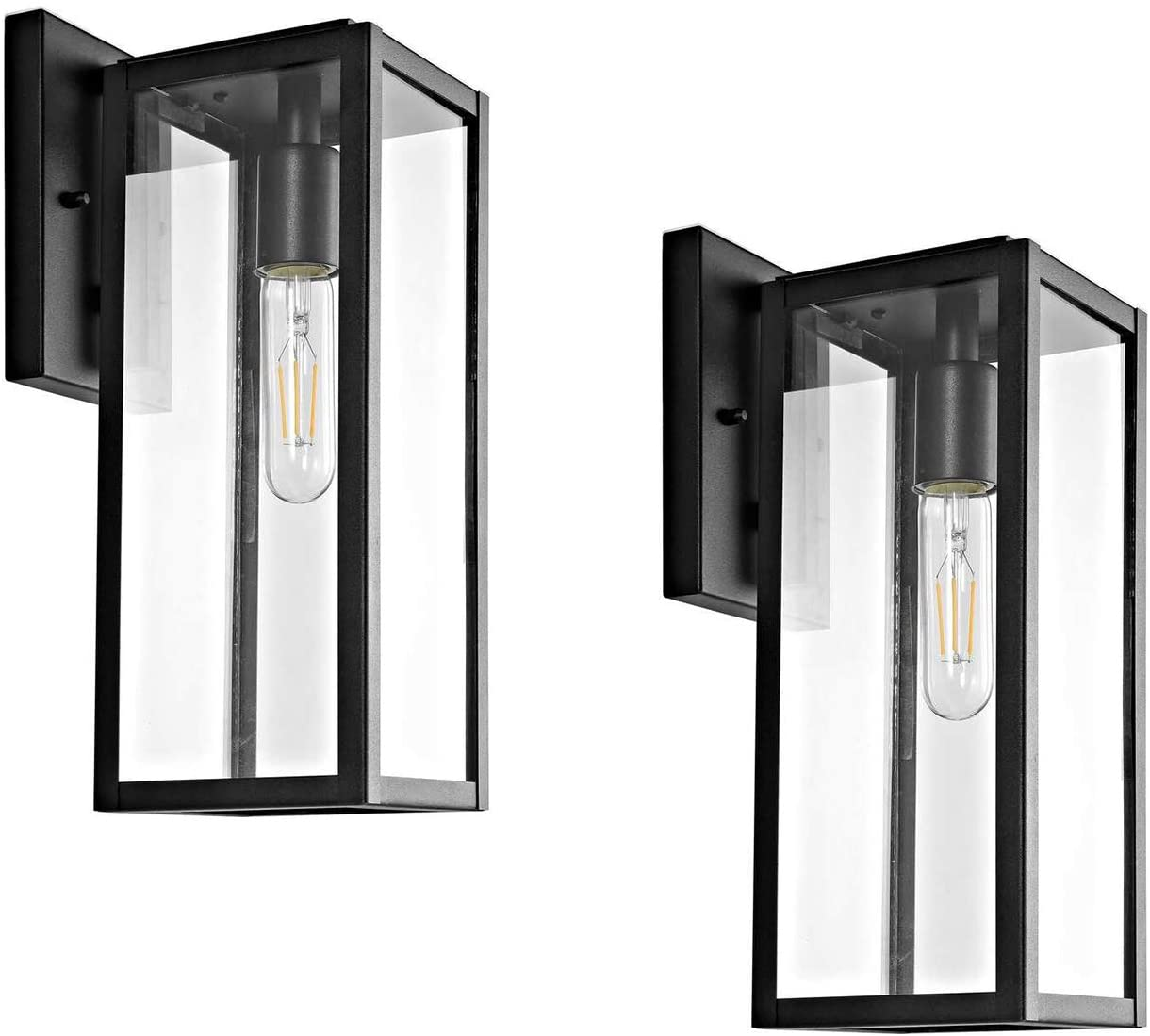 Bestshared Outdoor Wall Lantern, 151-Light Exterior Wall Sconce Light Fixtures,Wall Mounted Single Light, Black Wall Lamp with Clear Glass (2 Pack)