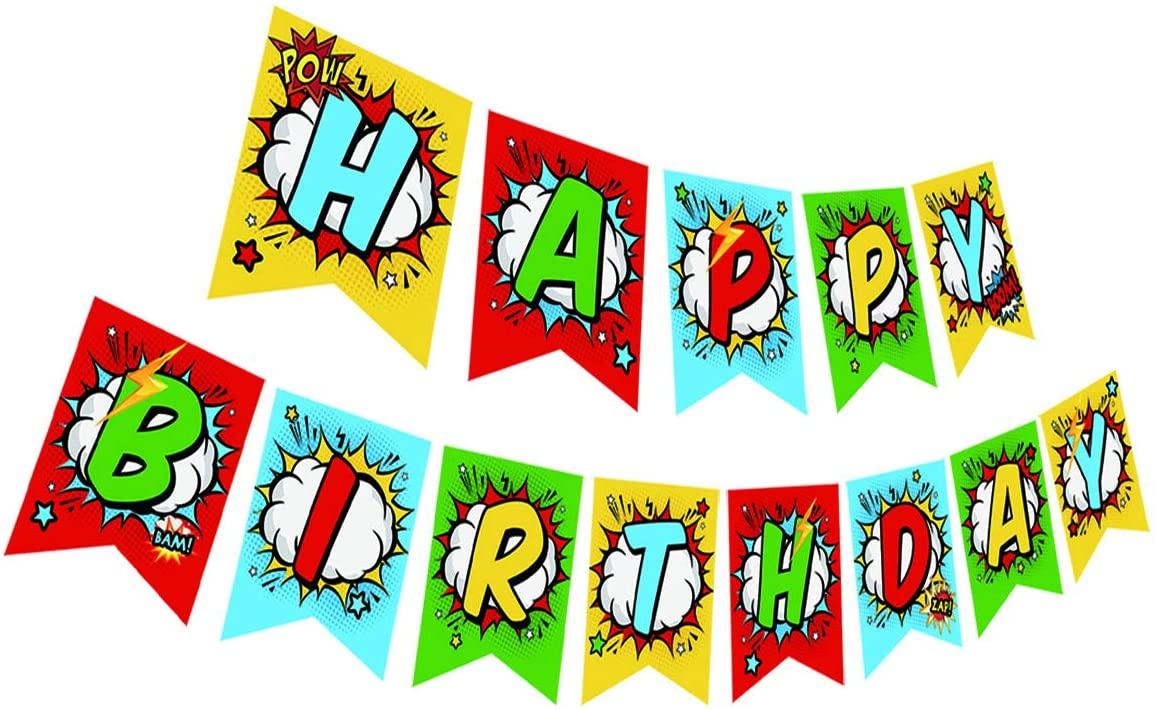 Superhero Birthday Banner, Superhero Happy Birthday Sign, Superhero Birthday Party Bunting, Superhero Birthday Theme Party Supplies Decorations