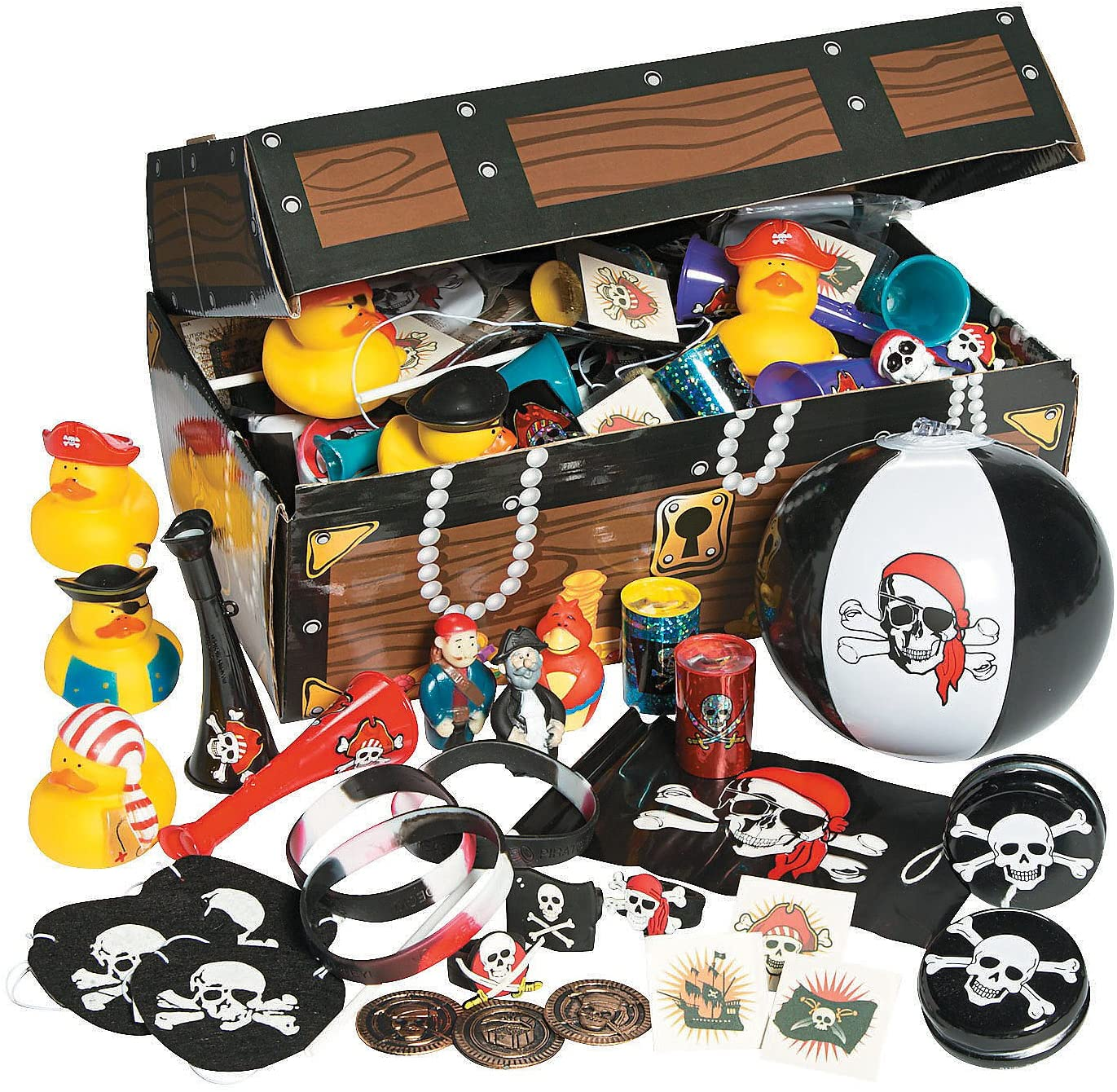 Fun Express Pirate Treasure Chest and Bulk Toy Assortment (100 Pieces)