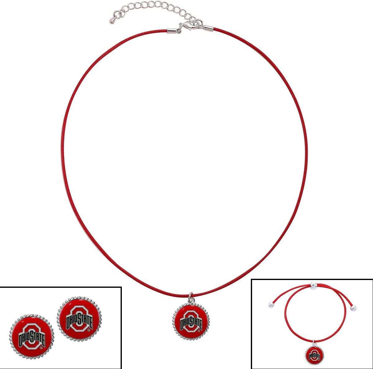 SANDOL Ohio State Cord Jewelry Combo (Bracelet, Necklace, Earrings)