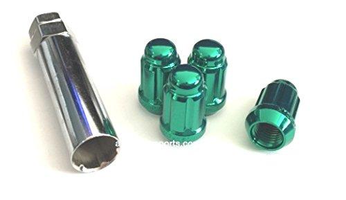 AVN Motorsports 12x1.5 Spline Tuner Lug Nuts Wheel Locks (4 Lugs & 1 Key Included) (12mmx1.50 Thread Size) (Green)