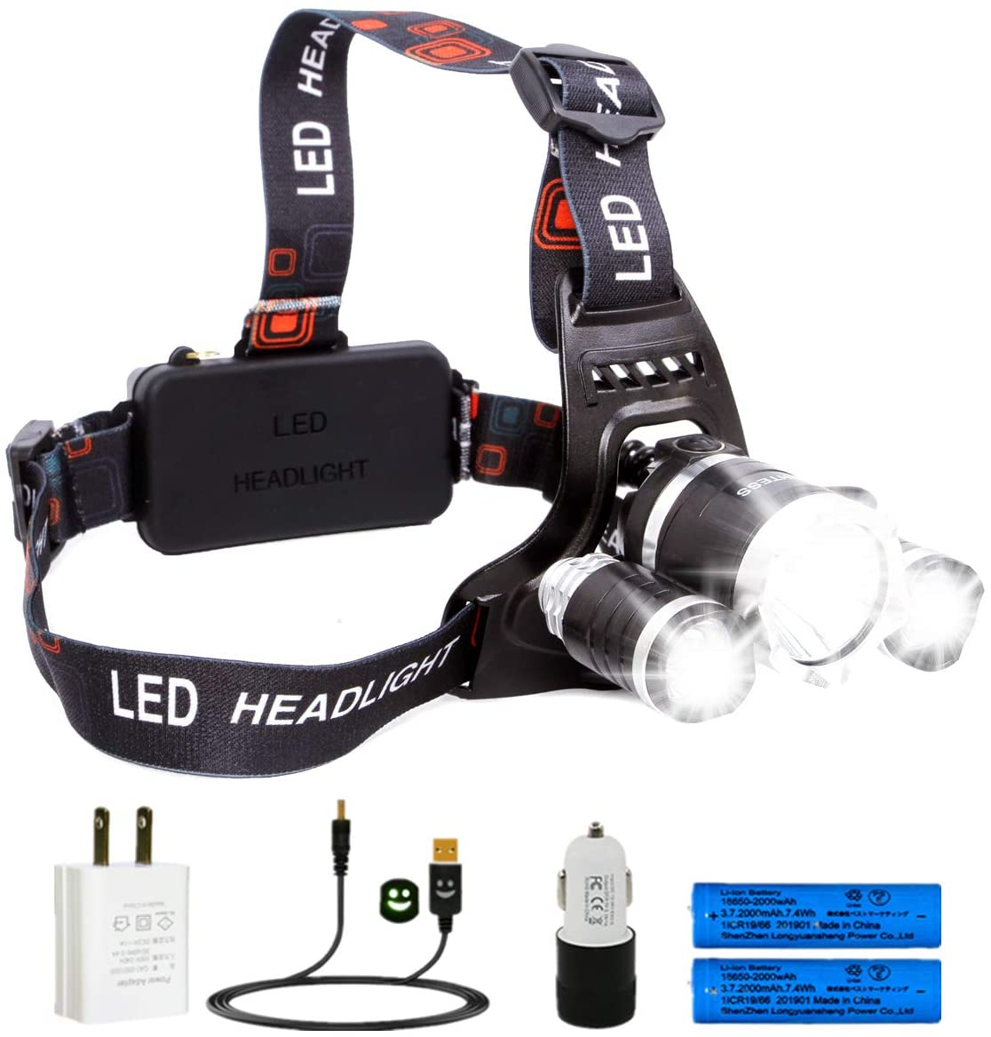 Lightess LED Headlamps Waterproof XM-L T6+2R2 Rechargeable Head Lamps for Hunting Camping, SQ124