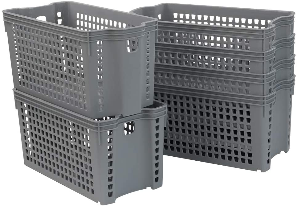 Ggbin Grey Plastic Storage Basket, Slim Basket Bins, 6 Packs