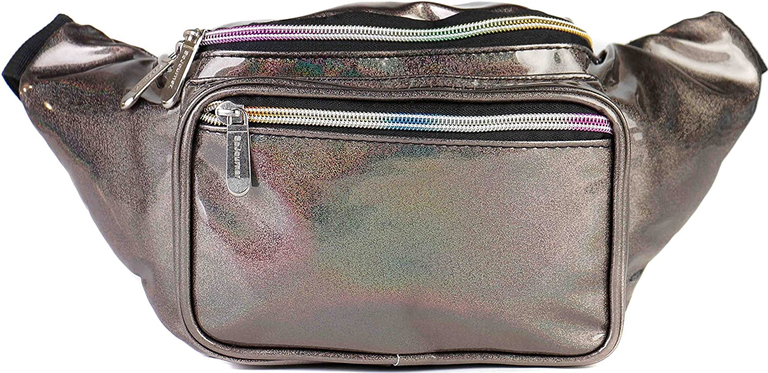 SoJourner Rave Holographic Fanny Pack - Packs for festival women, men | Cute Fashion Waist Bag Belt Bags (Copper Glitter)