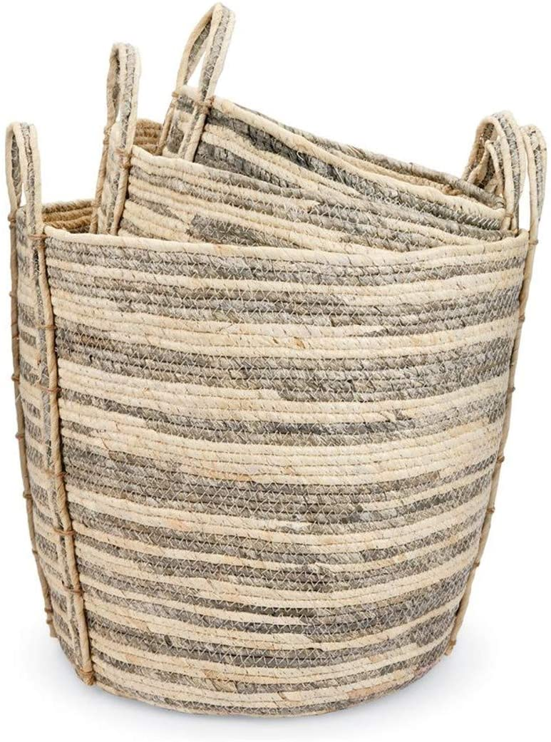Mud Pie Gray Stripe Basket Set of 3