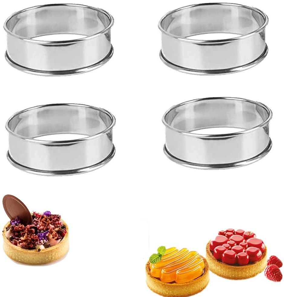 Newmemo Muffin Tart Rings Double Rolled Tart Ring Stainless Steel English Muffin Rings Crumpet Rings Bread Rings Mousse Cake Ring Pastry Mini Round Baking Ring Mold Cooking Ring Pancake Ring Mold 4pcs