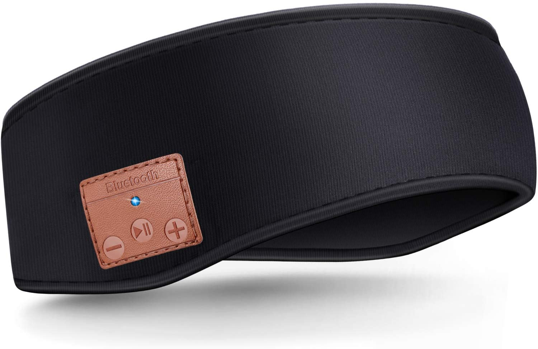 Sleep Headphones Bluetooth Sports Headband, Wireless Music Sweatband Headband Headphones with HD Stereo Speakers, Music Sleeping Headband for Workout, Running, Jogging, Yoga (Black)