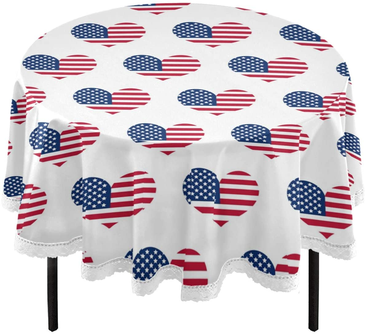 Oarencol Patriotic Heart American Flag July 4Th Round Tablecloth 60 Inch Independence Day Table Cover Washable Polyester Table Cloth for Buffet Party Dinner Picnic