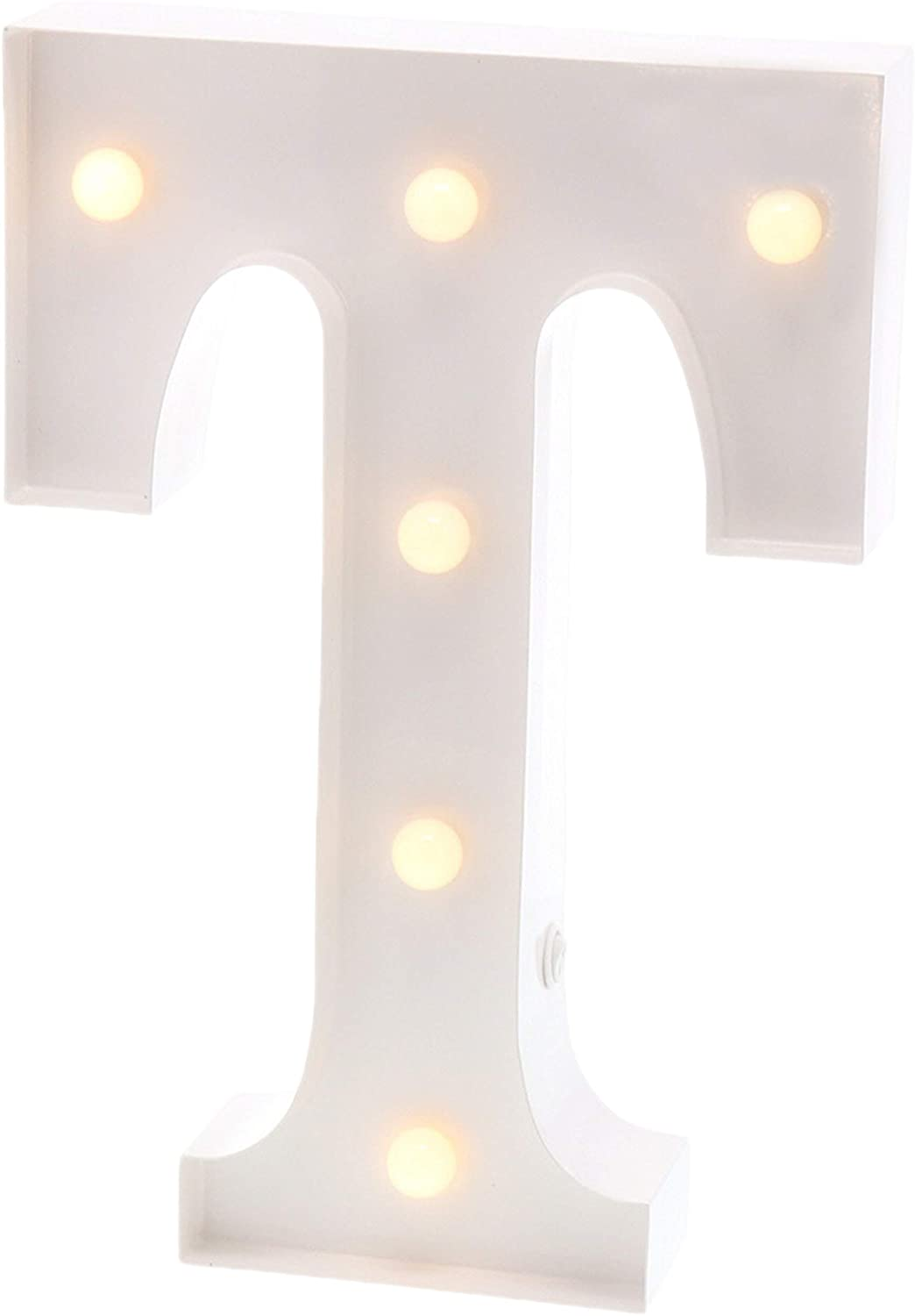 "Barnyard Designs Metal Marquee Letter T Light Up Wall Initial Wedding, Bar, Home and Nursery Letter Decoration 12"" (White)"