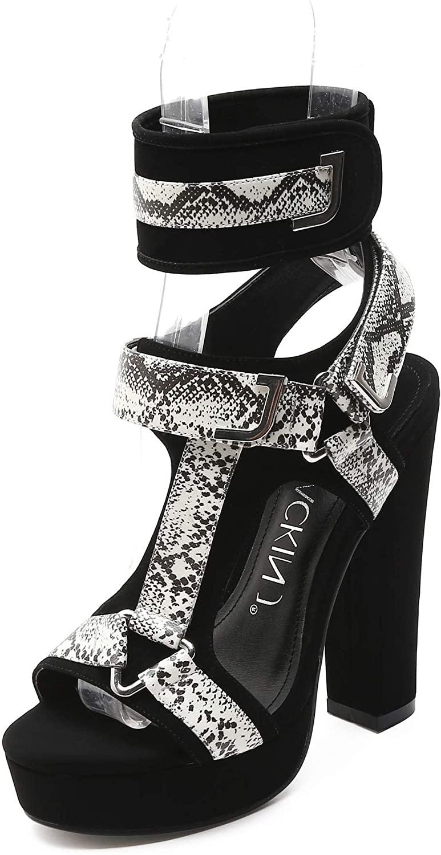 MACKIN J 581-1 Women's Chunky Platform Heels Open Toe Strappy Buckle High Heel Sandals