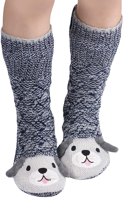 Panda Bros Women's Soft Warm Cozy Fuzzy Fleece-lined Winter Slipper Socks With Grippers