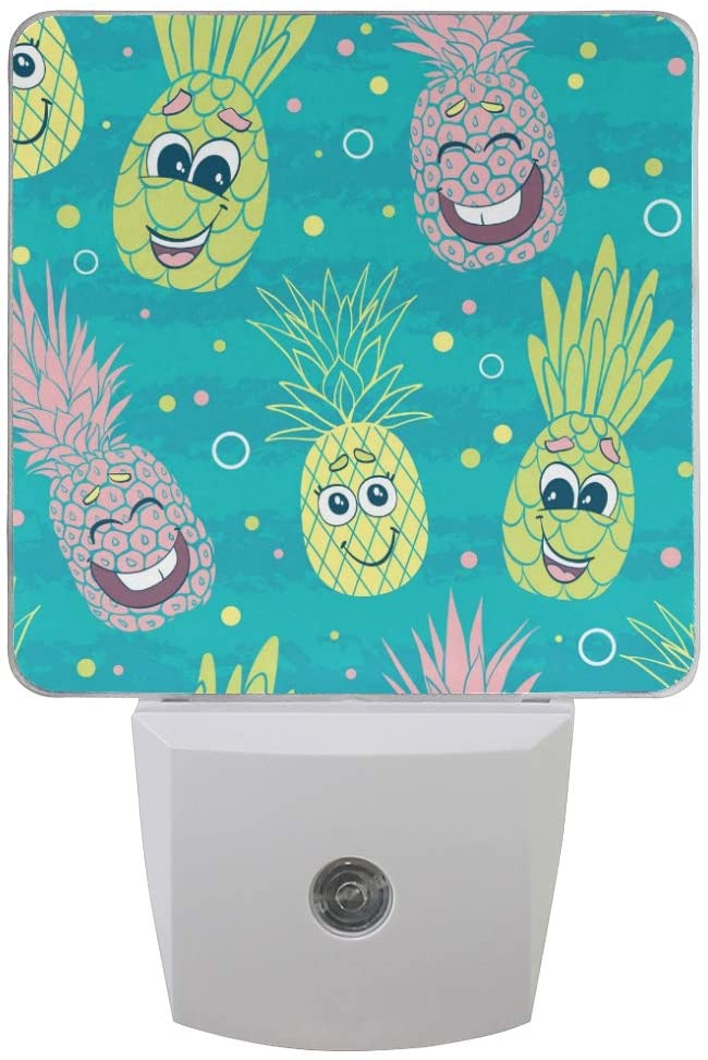 Night Light 2 Pack, Happy Pineapple Faces Plug-in LED Night Lamp with Light Sensor Bathroom Kitchen Hallway Living Room Decorative Daylight White for Kids