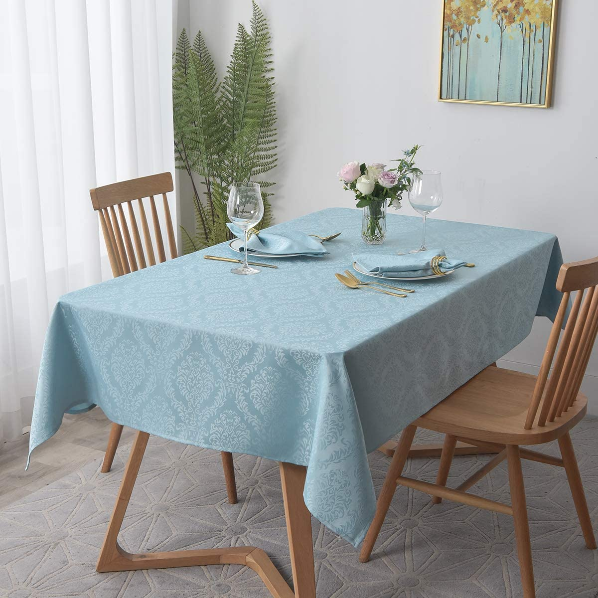 maxmill Square Table Cloth Damask Pattern Spillproof Wrinkle Resistant Oil Proof Heavy Weight Soft Tablecloth for Kitchen Dinning Tabletop Outdoor Picnic Square 52 x 52 Inch Blue Haze