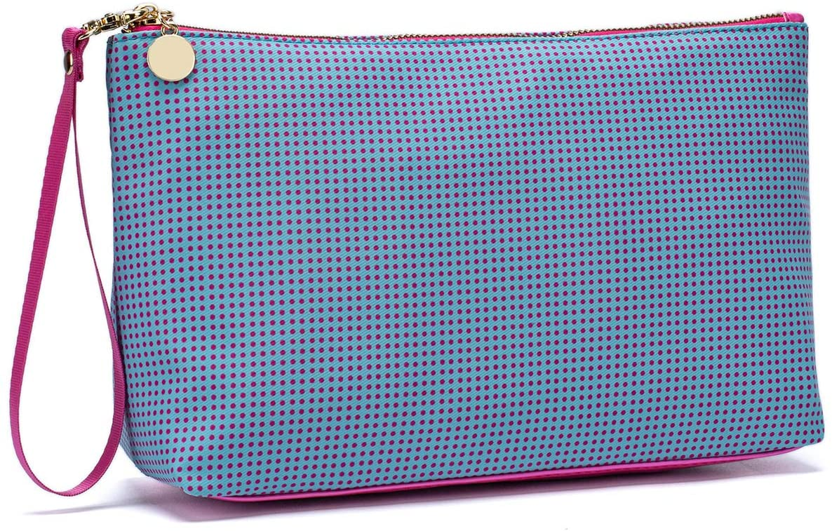 ETidy Cute Travel Small Makeup Bag For Purse Lightweight Water Resistant Cosmetic Bag Organizer Bag Pencil Pouch With Zipper(Blue big)