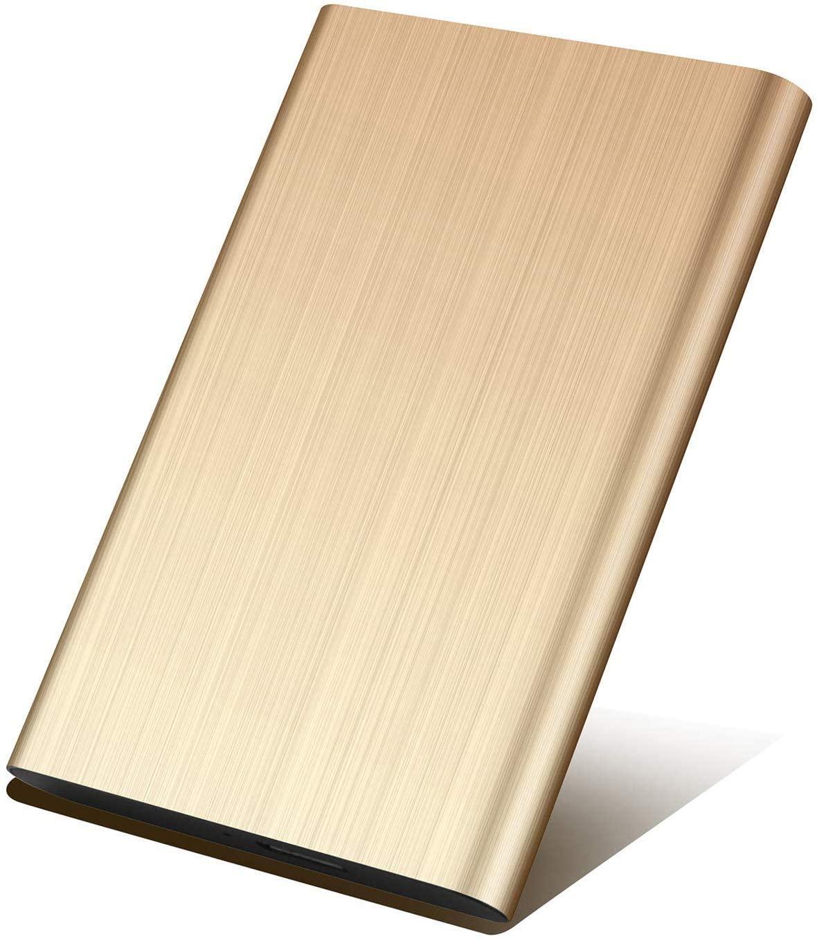 Portable External Hard Drive 1TB/2TB,Hard Drive External Ultra Thin External HDD External USB 3.0 Hard Drive for Mac PC and Laptop (2TB, Golden)