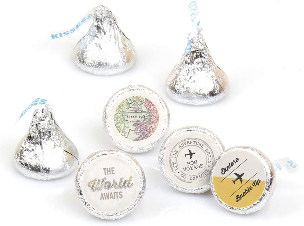 World Awaits – Travel Themed Party Round Candy Sticker Favors – Labels Fit Hershey's Kisses (1 Sheet of 108)