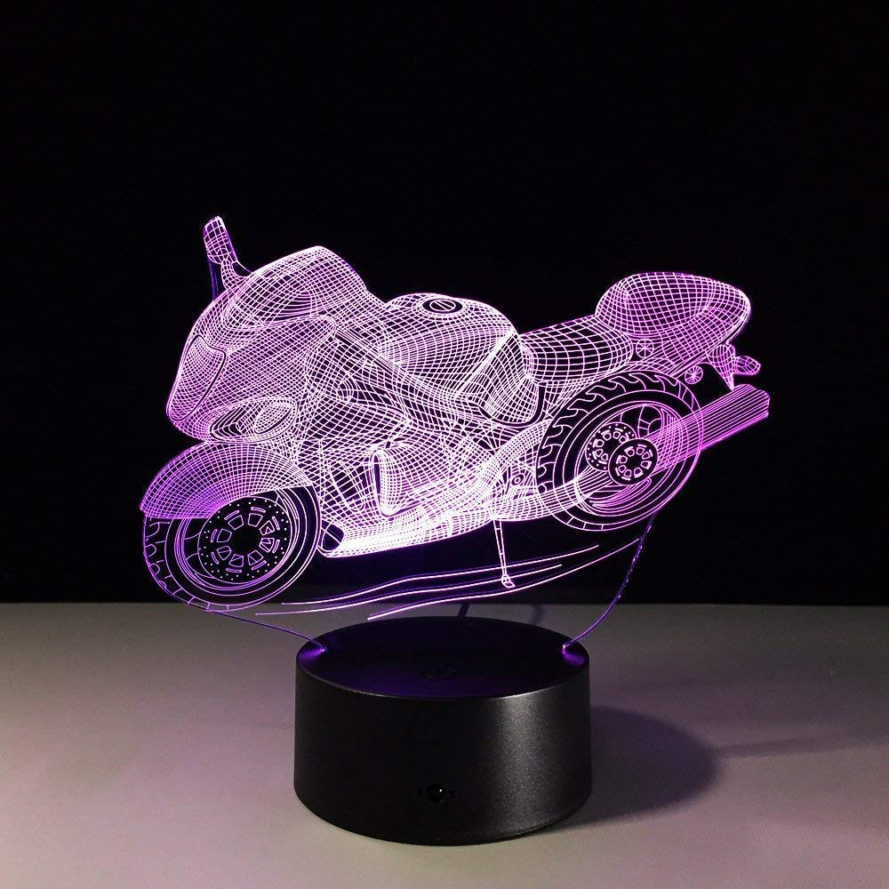 3D Motorcycle Night Light USB Touch Switch Decor Table Desk Optical Illusion Lamps 7 Color Changing Lights LED Table Lamp Xmas Home Love Brithday Children Kids Decor Toy Gift