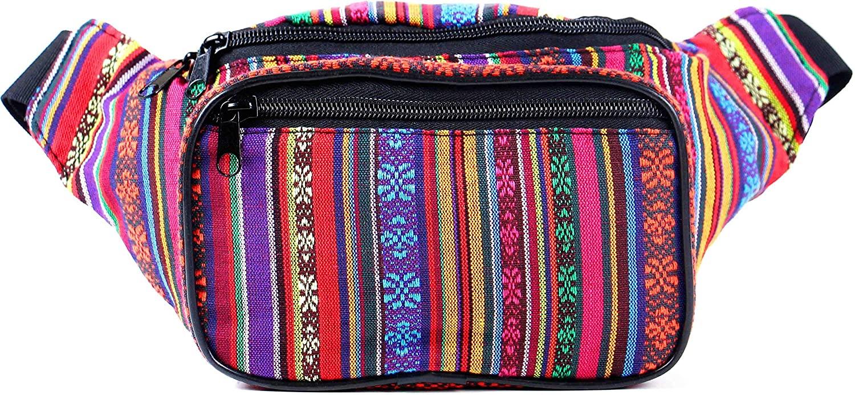 Festival Fanny Pack - Boho, Hippy, Eco, Woven, Cotton & Tribal Poly Styles (Orange Vert)