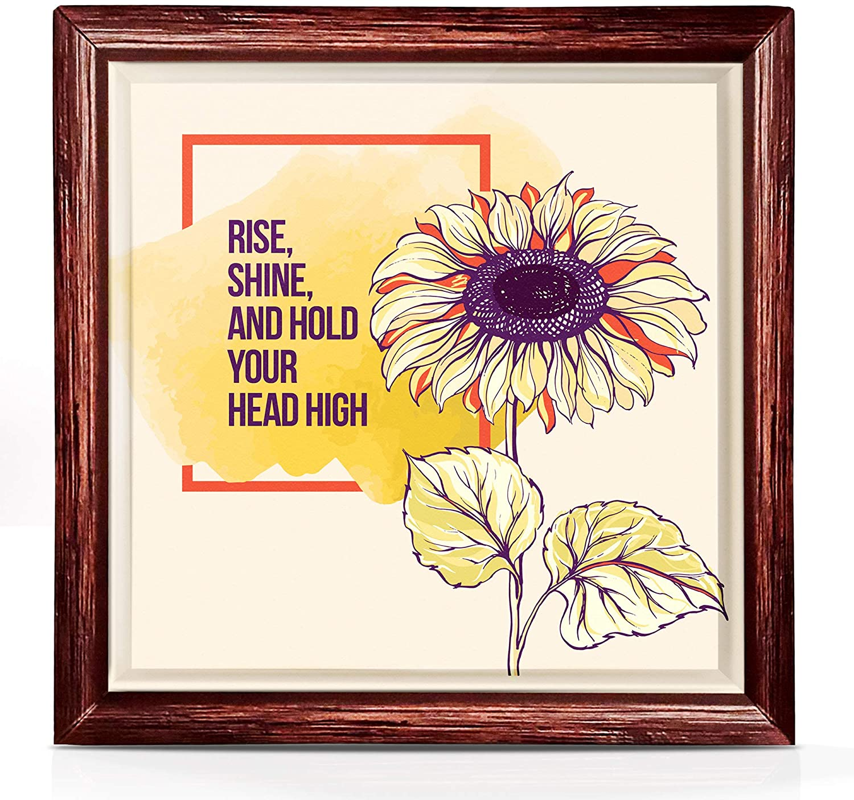 Sunflower Inspirational Gift for Women And Men | Sunflower Decor Motivational Gifts | Sunflower Wall Decor Inspirational Art | 7x7 Inspirational Sunflower Gifts for Women | Sunflower Kitchen Decor