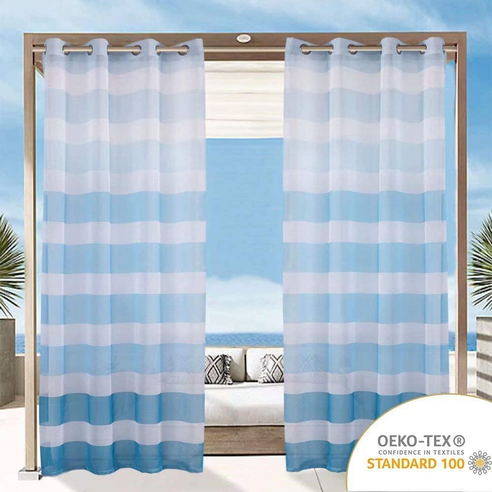 LORDTEX Striped Ombre Outdoor Sheer Curtains for Patio, Pergola, Porch and Cabana - Waterproof Gradient Voile Curtains, Light Filtering Linen Look Grommet Sheer Drapes, 52 x 108 Inch, Teal, 2 Panels