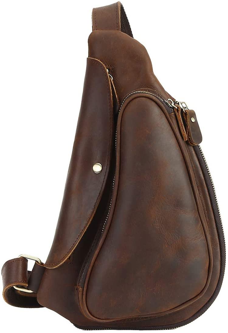 Leathario Men's Leather Sling bag Chest bag One shoulder bag Crossbody Bag Backpack for men (Brown-33)