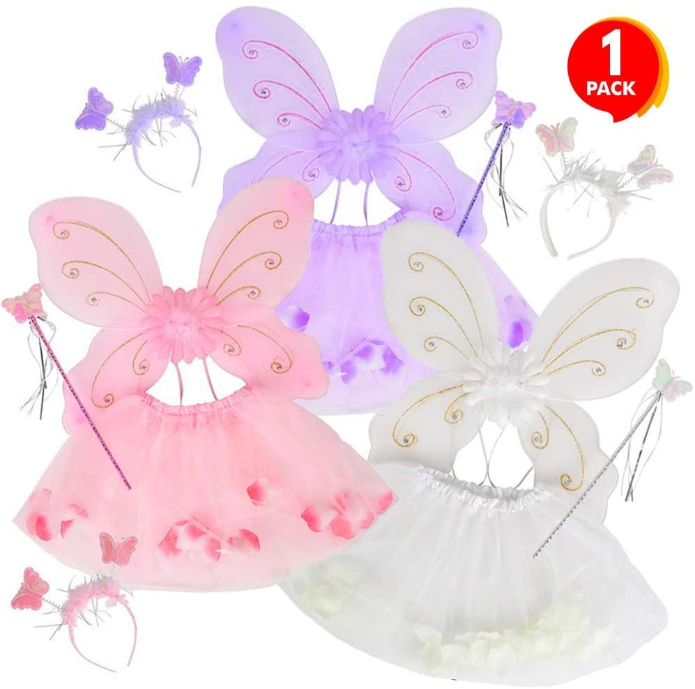 ArtCreativity Fairy Princess Dress-Up Set, 4-Piece Playset for Girls with Tutu Skirt, Headband, Wand, and Butterfly Wings, Cute Princess Costume Accessories, Best Birthday Gift for Kids