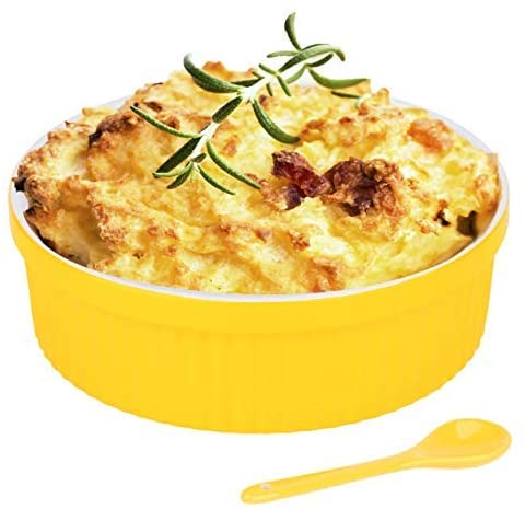 Souffle Dish Ramekins for Baking – 32 Oz, 1 Quart Large Ceramic Oven Safe Round Fluted Bowl with Mini Condiment Spoon for Soufflé Pot Pie Casserole Pasta Roasted Vegetables Baked Desserts (Yellow Set)