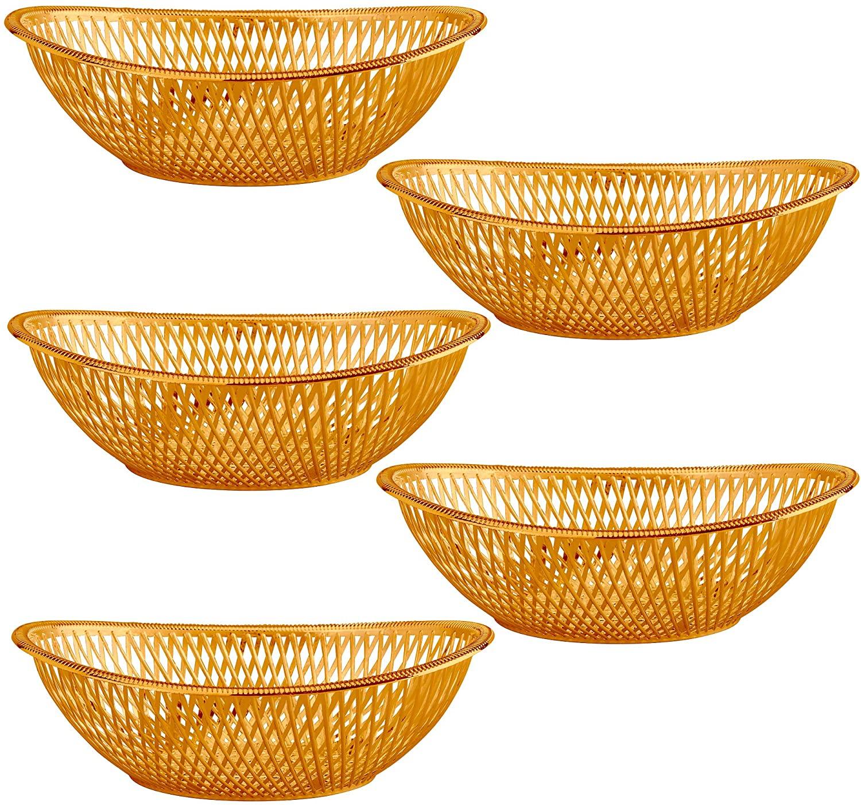 "Medium Plastic Rose Gold Bread Baskets - 5 Pack Reusable 10"" Oval Food Storage Basket - Elegant Modern Décor for Kitchen, Restaurant, Centerpiece Display - by Impressive Creations"