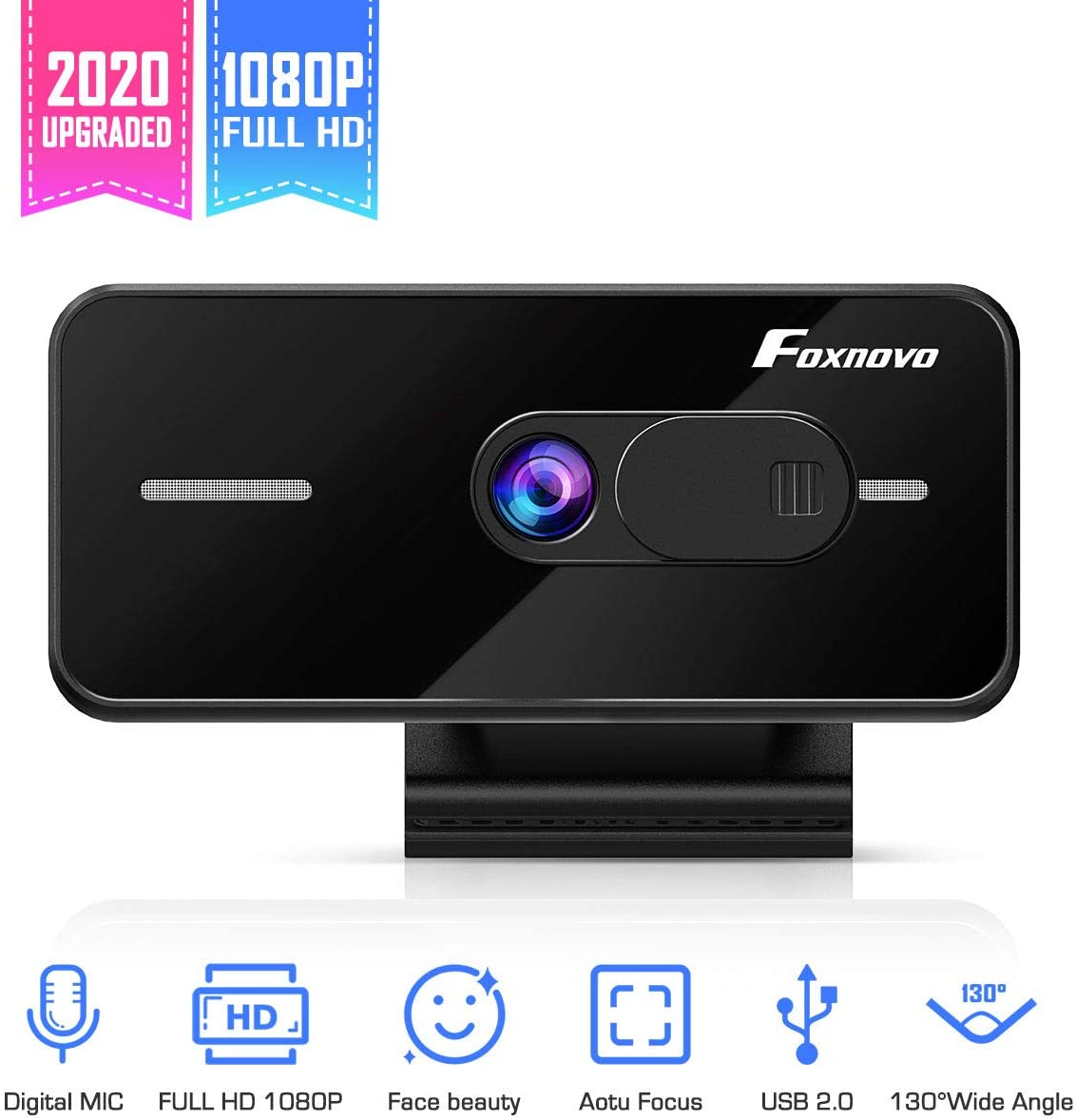 Foxnovo 1080P Webcam Auto Focus with Dual Microphones, 130° Wide View Angle Streaming Computer Web Camera with Facial-Enhancement Technology, USB PC Webcam for Video Calling Recording Conferencing