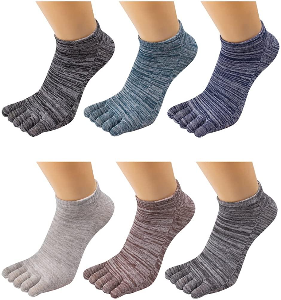 Men's Toe Socks 5 Finger Crew Cotton (Pack of 4 / 5 / 6)
