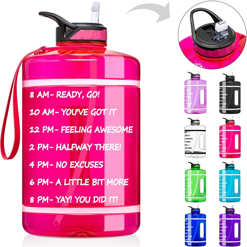 Fimibuke 64 oz/Half Gallon Motivational Water Bottle with Time Marker & Straw - BPA Free & Leakproof Plastic 2L Water Bottle Portable 1/2 Gallon Big Water Jug for Office Workout Outdoor Sport
