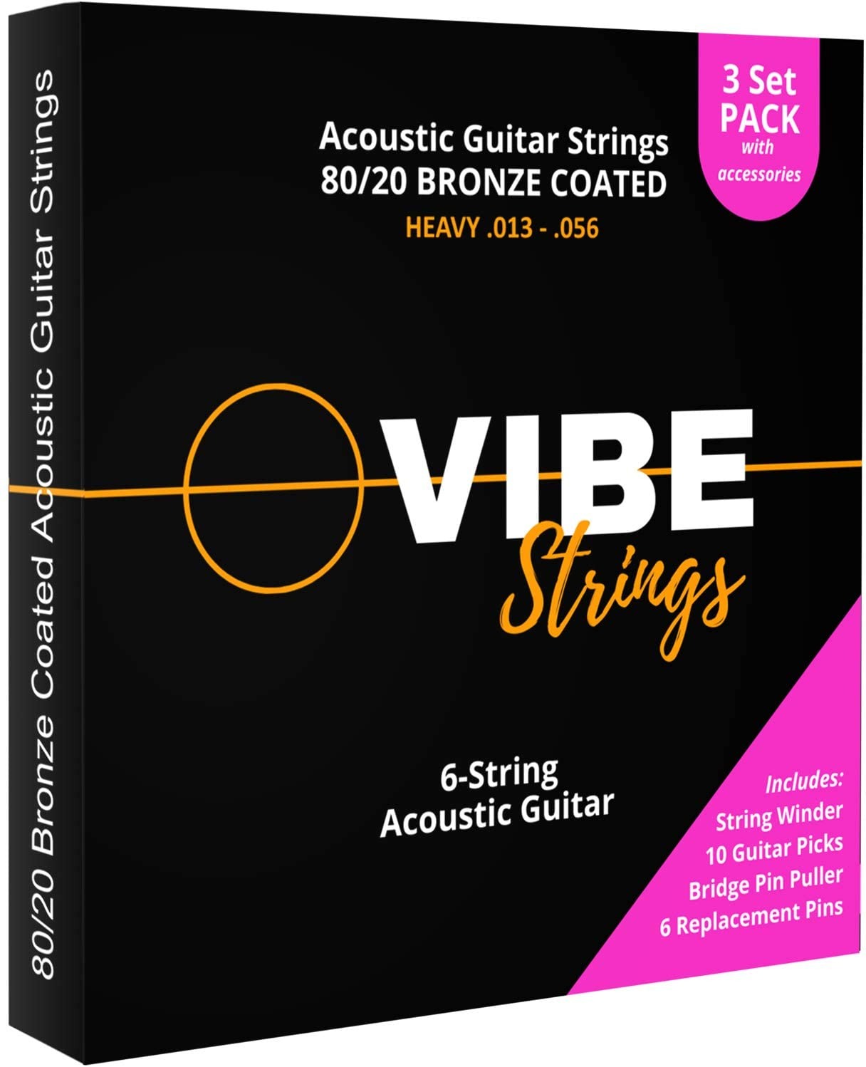 VIBE Strings Acoustic Guitar Strings, 80/20 Bronze Coated Acoustic Strings Heavy (.013-.056), Pack of 3 Sets + Restringing Accessory Pack