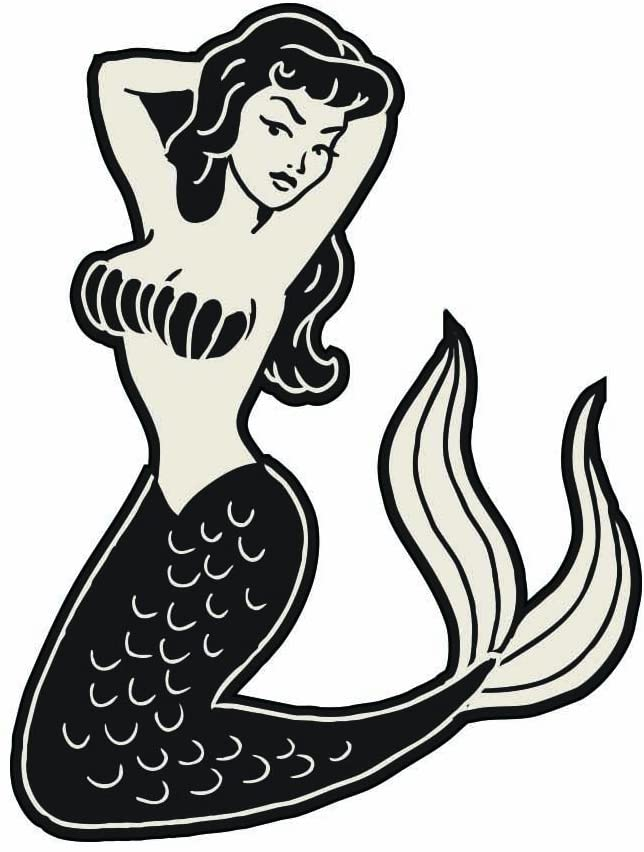 Mermaid Pin Up Tattoo - Full Color Vinyl Decal Sticker for Instant Pot Instapot Pressure Cooker