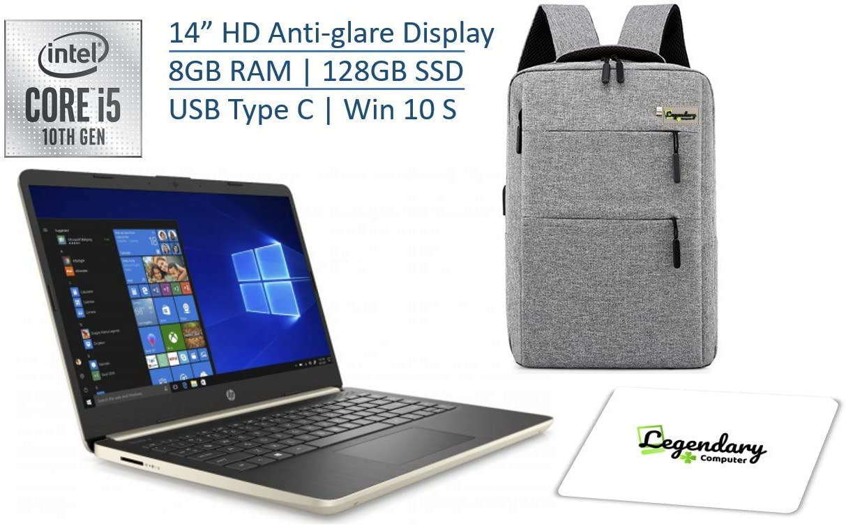 HP 2020 14 Inch HD Premium Laptop PC, 10th Gen Intel Quad Core i5-1035G4 (Beat i7-8550U), 8GB RAM, 128GB SSD, USB 3.1 Type C, Windows 10 S W/ Legendary Backpack & Mouse Pad Bundle