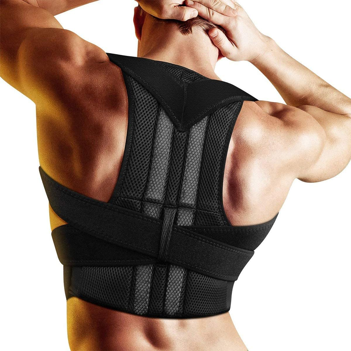 Yesbaby Breathable and Adjustable Posture Corrector Back Brace Waist Belt Support Humpback Correction Back Neck Pain Relief for Men and Women (Size : XL)
