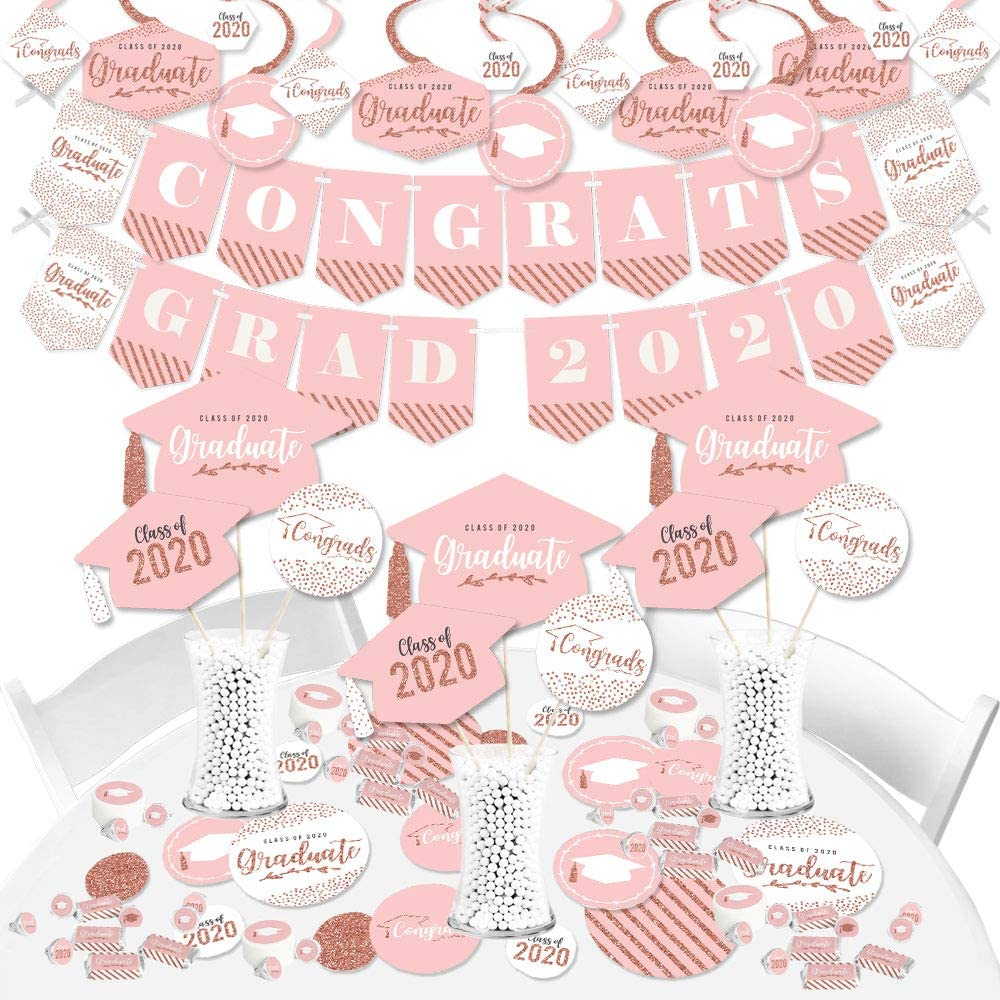 Big Dot of Happiness Rose Gold Grad - 2020 Graduation Party Supplies - Banner Decoration Kit - Fundle Bundle